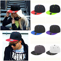 Baseball Cap Flat Peak Snapback Hat Retro Vintage Hip Hop Rapper Mens Womens