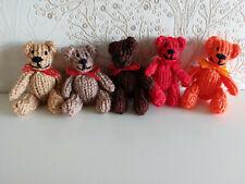Hand Knit 7 cm Teddy Bear Browns - Orange - Red Gift Present Miniature Present