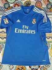 Real Madrid Adidas 2013-14 Away Blue Soccer Futbol Jersey Mens Sz L #9 Benzema