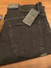NWT Polo Ralph Lauren 32 x 32 Black Denim Thompson Relaxed Stretch Jeans