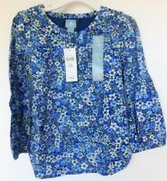NWT Gap Toddler Girl's Blue Floral Pansies Lined Top 100% Cotton 3 Years MSRP$25