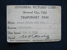 ORIGINAL 1936 UNIVERSAL STUDIO TEMPORARY PASS - Hollywood Columnist JIMMY STARR