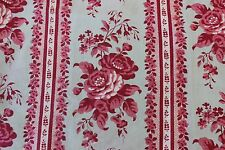 """French c1870 Antique Pink Country Rose Stripe Chintz Fabric~21"""" LX 29""""W"""