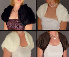 MINK FAUX FUR BOLERO SHRUG BRIDAL JACKET WEDDING