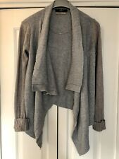 Oui, Waterfall Cardigan In Cashmere Blend, Grey, Size 12/38