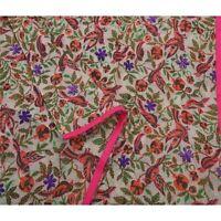 Tcw  New White Heavy Dupatta Hand Embroidered Kantha Stole Chanderi Silk