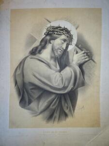 RAPHAEL (1483-1520) GRANDE LITHO JESUS CHRIST CROIX MORT ROMANTISME DIEU 1860