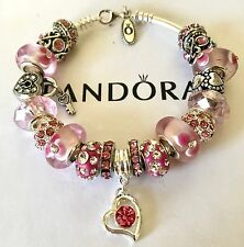 Authentic Pandora Sterling Silver Charm Bracelet Pink Love European Charms