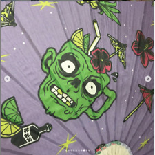 Sourpuss Paper Parasol Zombie Drinks Punk Tattoo Halloween Purple Green