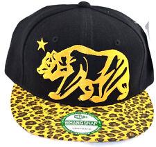 California Republic Snapback-Black Cap with Yellow Leopard Brim