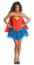 Sexy Wonder Woman Adult Costume Ladies Corset Skirt Red Cape Silver Gauntlets MD