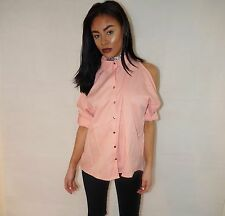 UK Women Chiffon Cold Off Shoulder Loose Casual Long Sleeve Tops Blouse Shirt