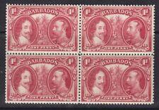 BARBADOS 1927 SG240 1d CARMINE BLOCK OF FOUR MNH