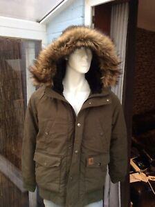 Carhartt Trapper Bomber Parka With Fur Hood Large Super Stylish Parker