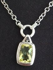 "Sterling Silver 925~ NEW YORK Designer ""Armadani""Citrine& Cz STONE Necklace"