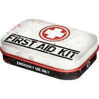 Retro Tin Metal Pill Box 'FIRST AID' with Mints - 6 x 4cm Americana Vintage look