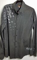 Mens Quicksilver Large Black Grey Skull Longsleeve Shirt Pinstripe Authentic Lg