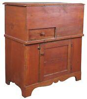 Early American Antique Pine Pennsylvania Dough Box Bin Flour Cabinet Trunk Chest