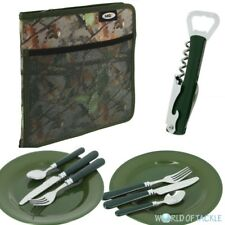 NGT Deluxe Cutlery Plates Set CAMO Carp Fishing Camping Day Picnic 2 Forks Spoon