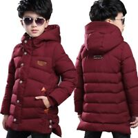 Kids Boys Down Cotton Coat Winter Warm Padded Jacket Hooded Parka Long Overcoat