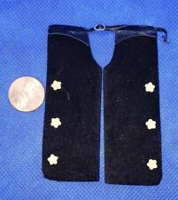 Dollhouse Miniature Black Leather Chaps with Tan Stars -- 1:12 Scale