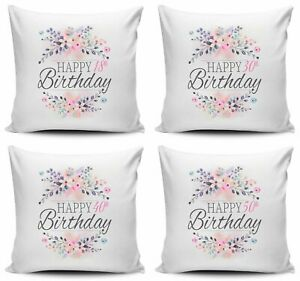 Floral Happy Birthday Novelty Cushion Cover Square pillow case