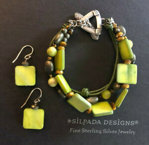 SILPADA Sterling Silver Bracelet Earrings Green MOP Pyrite Leather Toggle #1160