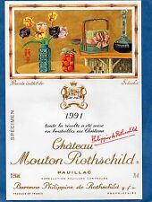 PAUILLAC 1EGCC ETIQUETTE CHATEAU MOUTON ROTHSCHILD 1991 75 CL DECOREE §06/02/17§