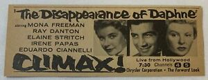 1958 small tv ad ~ CLIMAX! - THE DISAPPEARANCE OF DAPHNE Elaine Stritch