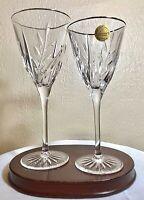 """2 Vintage Cristal d'Arques France Cassandra Gold Crystal Glasses 7.5"""" & 8.25"""""""