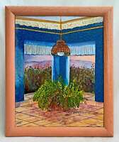 California Vintage Painting Folk Art Garden Vista Thru Wicker Hanging Lamp