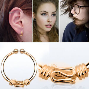 1-4PC Rose Gold Balinese Wire Tribal Piercing 18g Nose Ear Clip Illusion Hoop OS