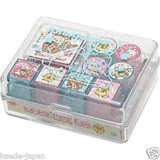 San-X Rilakkuma Mini Rubber Stamp Set 8 Designs Red Ink 01 From JAPAN AU