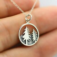"""MOUNTAIN TREE FOREST PINE pendant Sterling Silver 925 22"""" necklace female mom"""