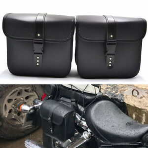 Pair Waterproof Motorcycle PU Leather Saddle Bags Storage Tool Pouch Left&Right