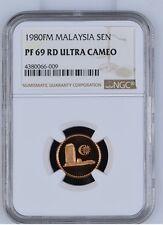 Malaysia 1980 FM,Bronze 1 Sen Proof NGC PF69 RD Ultra Cameo