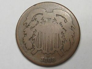 1868 US Two Cent Piece Coin. 2¢.  #41