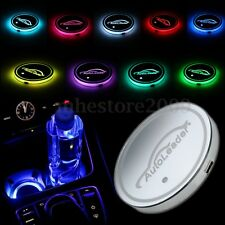 Car RGB Color Cup Holder Bottom Pad Mat LED Light Trim For All Models 68mm NEW