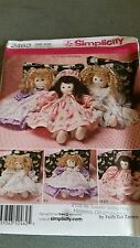 """21"""" DOLL Simplicity 2462  pattern by Faith Van Zanten. New and uncut."""