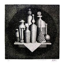 """MARIO AVATI Signed 1958 Original Mezzotint - """"Flacons D'acides"""""""