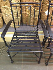 2 Pottery Barn Portsmouth Outdoor Patio Dining Table arm Chairs iron Bronze