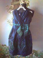 Bonnie Jean Girls Dress Girls Size 10 Navy & Green Waist Bow Short Sleeveless
