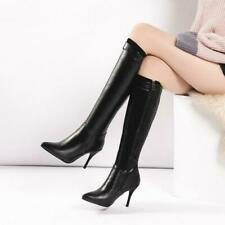 Fashion Women Stiletto Heels Pointy Toe Sexy Knee High Boots Leisure Shoes DIT