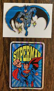 VINTAGE 90S DC COMICS PRISM STICKER LOT OF 2 BATMAN SUPERMAN