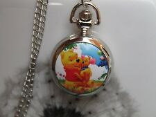 women girl Winnie the Pooh necklace pendant pocket watch long chain vintage