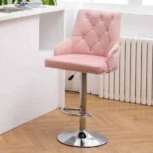 Adjustable Bar Stool Lift Swivel Velvet Breakfast Kitchen Cafe Chair Barstool