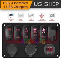 Car Marine Boat 6-Gang Waterproof Circuit Red LED Rocker Switch Panel Breaker