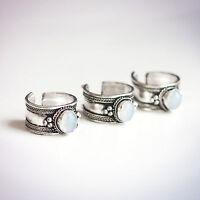 Tibetan Opalite Jewel Trinket Ring-Opal Crystal Silver Jewellery- Boho Bohemian