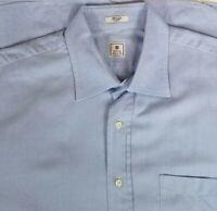 Peter Millar Men's Button Front Dress Shirt Check Sz L 16.5-35 Blue Herringbone