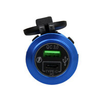 QC 3.0 USB + Type-C LED Fast Charger Adapter Socket Outlet For Car Boat ATV RV